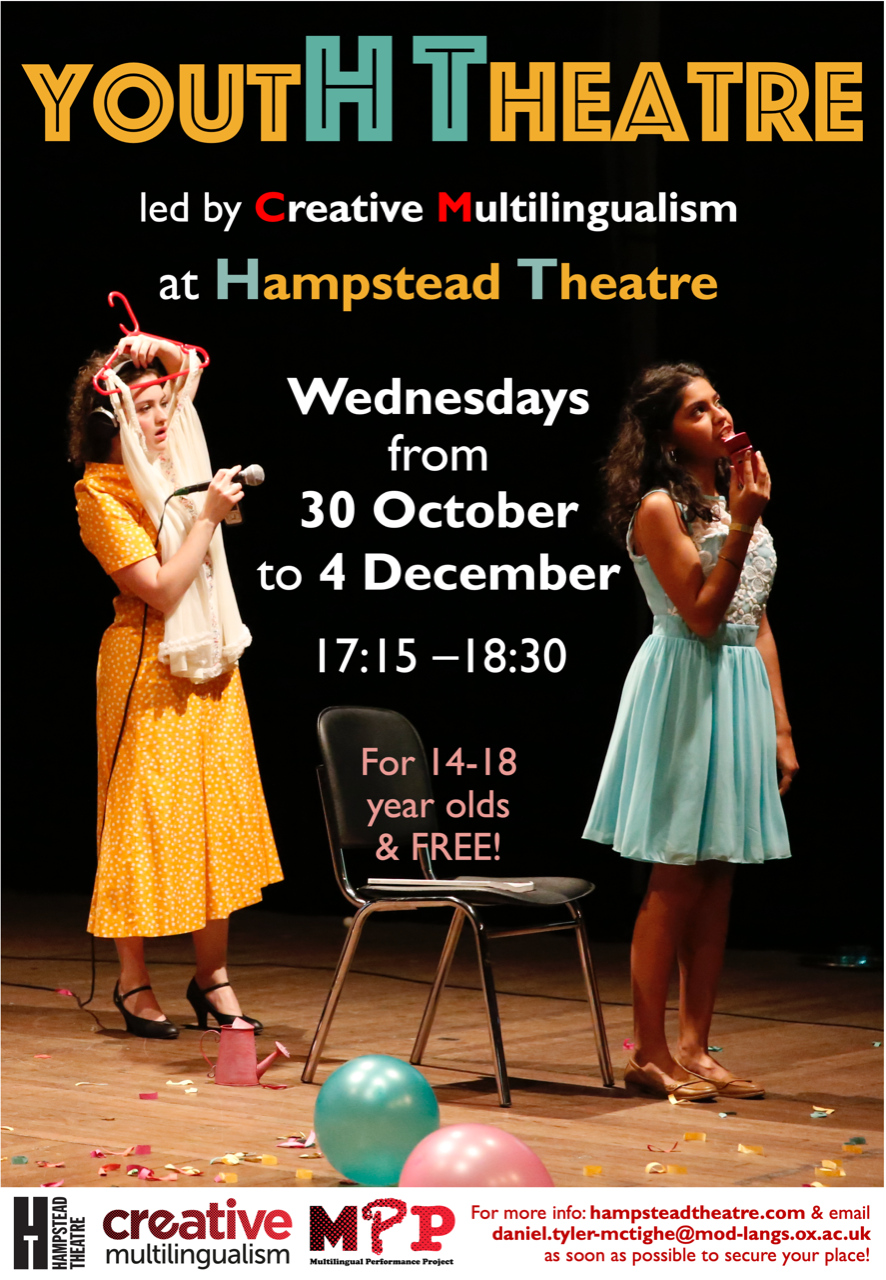 Flyer for multilingual theatre project at Hampstead Theatre