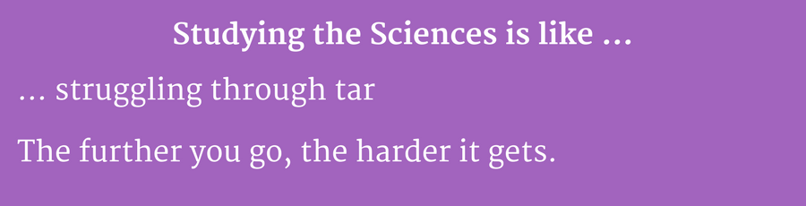 Studying sciences is like struggling through tar