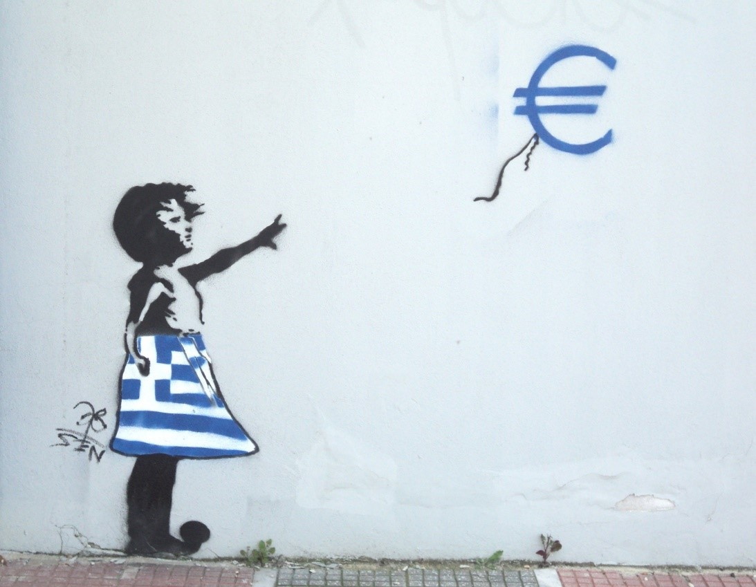 Banksy inspired graffiti artwork in Athens