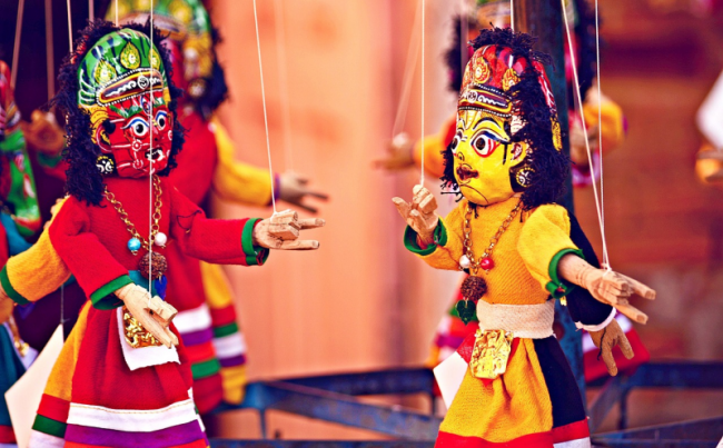 Photo of colourful puppets