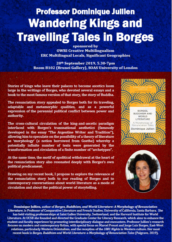 Poster for Wandering Kings and Travelling Tales in Borges